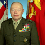 Retired Commandant of The Marine Corps, Gen Alfred M. Gray, green service uniform alpha, uncovered with ribbons worn, 01/01/1995