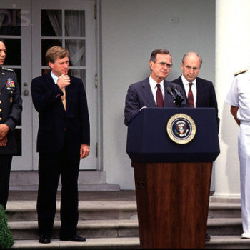 10 Aug 1989, Washington, DC, USA --- Original caption: 10 August 1989: L-r: Gen. Colin L. Powell, V.P. Dan Quayle, Pres. George Bush, Sec. of Defense Dick Cheney, and Admiral William Crowe, who Powell is replacing as Chairman, Joint Chiefs of Staff. --- Image by © Ron Sachs/CNP/Sygma/Corbis